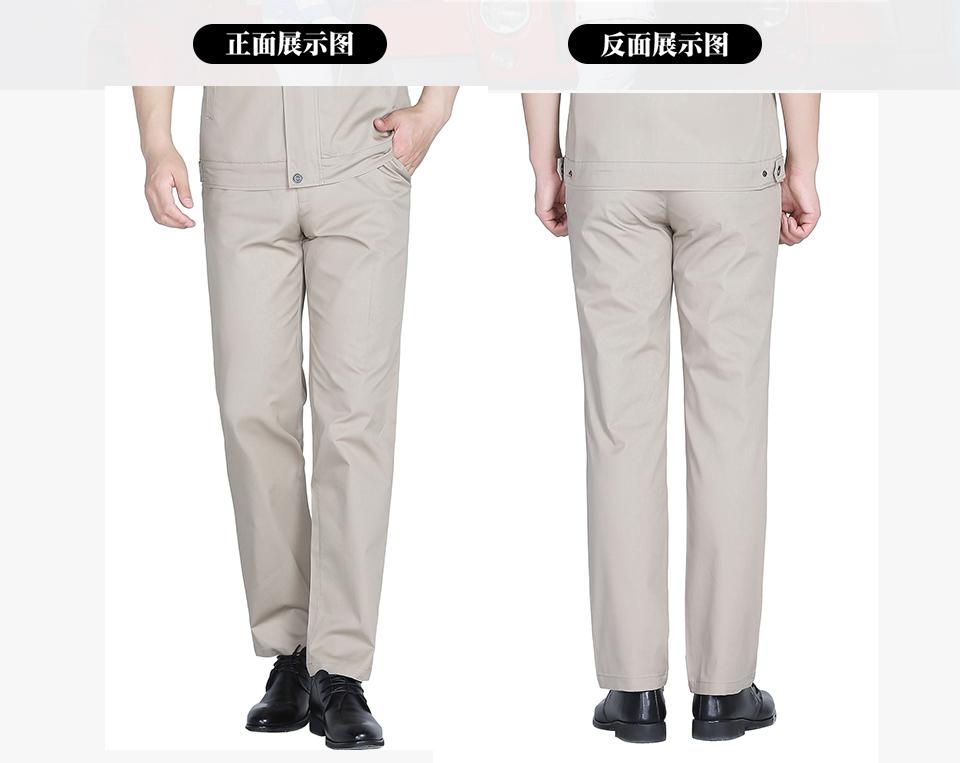 新款浅灰色夏季涤棉斜纹休闲工装裤