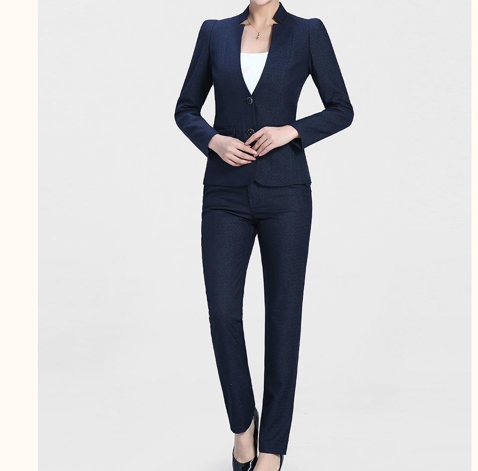 新款深蓝色时尚开领两粒扣女士职业装